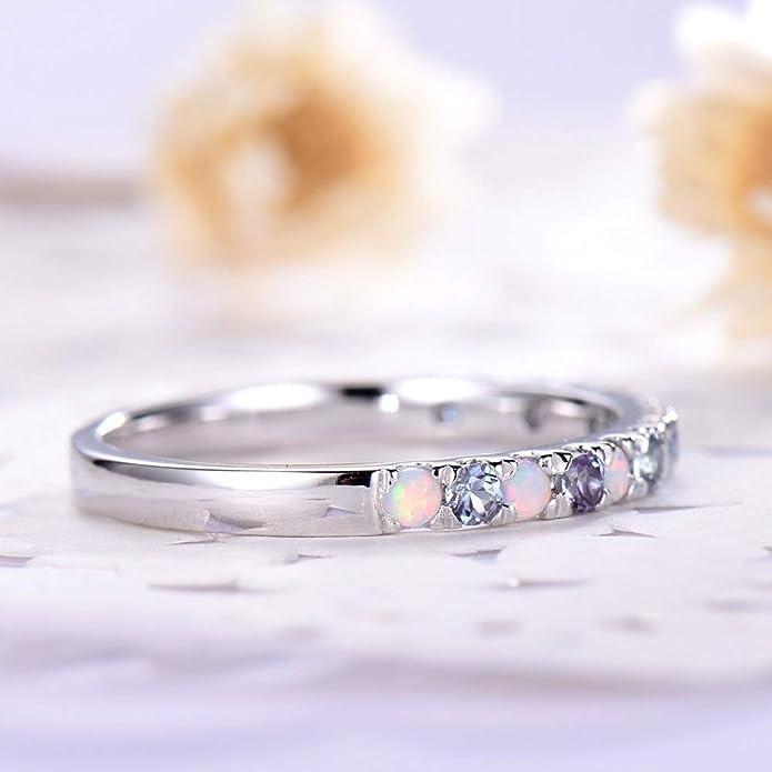 Amazon.com: Anillo de boda de Alejandrita de oro blanco de ...