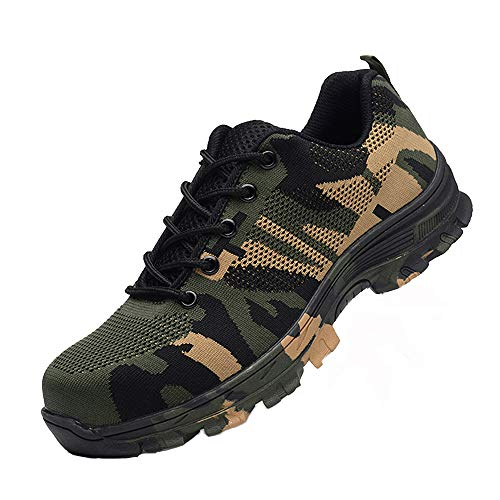 Maybolury Men Women Steel Toe Shoes, Industrial Construction Outdoor Breathable Work Safety Shoes Puncture Resistant Work Sneakers Shoes Camouflage Green