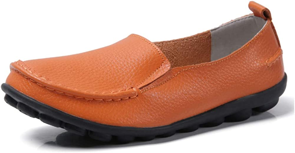 ANYUETE Womens Leather Loafers Comfortable Flat Shoes