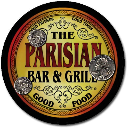 (Parisian Family Bar and Grill Patriotic Rubber Drink Coaster Set)