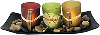 Losping Natural Candlescape Set 3 Decorative Candle Holders Rocks & Tray