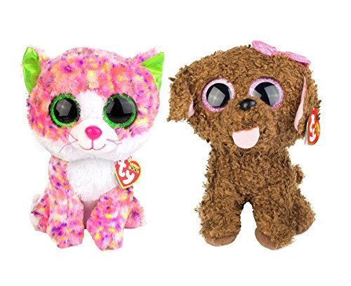 Maven Gifts: Ty Beanie Boos 2-Pack - Maddie The Brown Dog with Sophie The Pink Glitter Cat - Lovable Plush Animals with Glittery Eyes