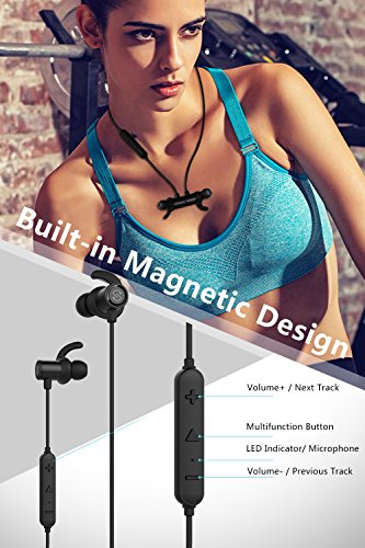 Large Product Image of SoundPEATS Magnetic Wireless Earbuds Bluetooth Headphones Sport In-Ear IPX 6 Sweatproof Earphones with Mic (Super sound quality Bluetooth 4.1, aptx, 8 Hours Play Time, Secure Fit Design) (black)