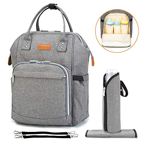 Diaper Bag Multi-Function Travel Backpack Nappy Bags, Nappy Tote Bag/Stroller Straps for Baby Care, Large Capacity, Stylish and Durable, Newborn Gifts 300D Linen Gray (Linen ()