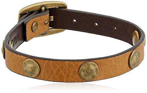 """Frye Unisex Camel Stud Soft Vintage Leather Wrap Bracelet, 13.25"""" + 4.5"""" Extender"""