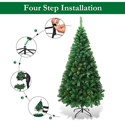 Goplus Artificial Christmas Tree with Solid Metal Stand for Holiday Indoor and Outdoor Decoration (5 feet)