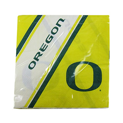 Offically Licensed NCAA Pack of 20 Disposable Paper Napkins - Oregon (Oregon Ducks Party Supplies)