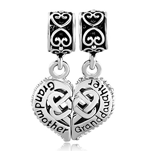 LovelyJewelry Puzzle Heart Love Grandmother Granddaughter Charms Dangle Beads For Bracelets