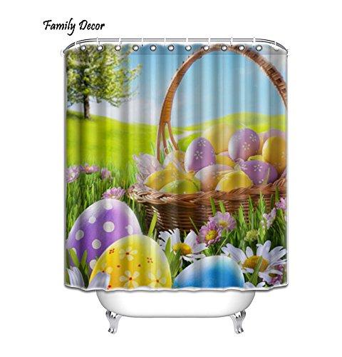 KXMDXA Happy Easter Waterproof Polyester Shower Curtain 66x72 Inch Bathroom Decor