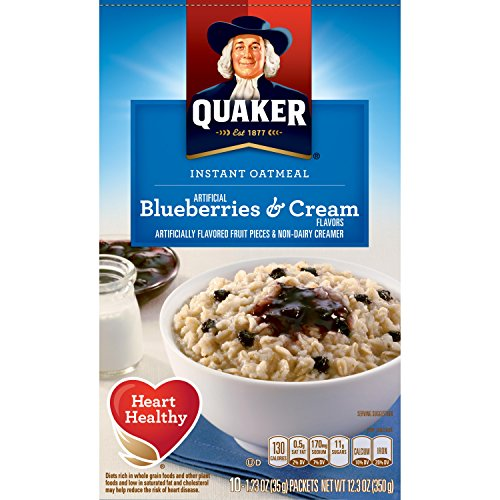 Quaker Instant Oatmeal Breakfast Cereal, Blueberries and Cream, Ten 1.23 Ounce Packets, Net Wt. 12.3 Ounce