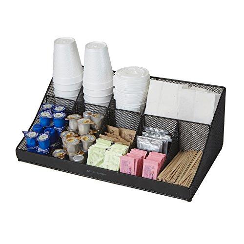 Mind Reader Breakroom Condiment Organizer, 11 Compartment, Black