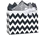 Pack Of 25, Vogue 16 X 6 X 12.5'' Chevron Stripe Black Recycled White Shopping Bags W/White Paper Twist Handles Made In USA