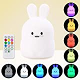 Baby LED Night Light, Remote Control + Sensor Tap Control, 4 Modes and 9 Colors, USB Rechargeable, Eco-friendly Silicone Nursery Lamp for Kids Children (Rabbit/Bear)
