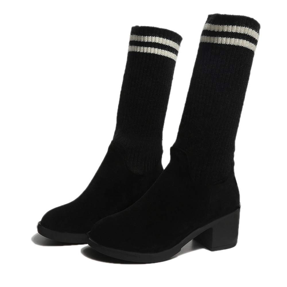 Memela Clearance Sale!!Women Suede Slip-On Round Toe High Heel Shoes Fold Booties Keep Warm Boots