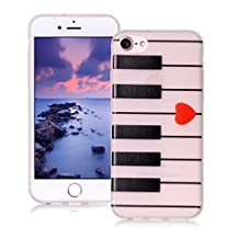 AllDo iPhone 7 Case Soft TPU Silicone Cover Flexible Slim Phone Skin Lightweight Thin Protective Case Scratchproof&Shockproof Bumper with Luminous Function - Piano Keyboard