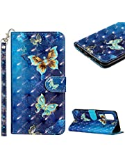 Cestor Wallet Flip Case for Samsung Galaxy A72,Slim Fit Cute 3D Painting Soft TPU with Card Slot Wrist Strap Magnetic Shockproof PU Leather Stand Case,Gold Butterfly