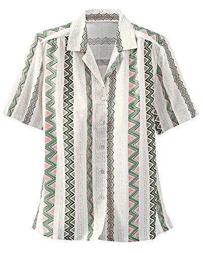 Donnkenny Printed Camp Shirt, Tribal Chevron, 1X ()