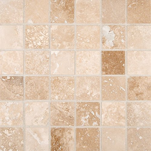 M S International Ivory 12 In. X 12 In. X 10mm Honed Travertine Mesh-Mounted Mosaic Tile, (10 sq. ft, 10 pieces per (Tuscany Bathroom Mosaic)