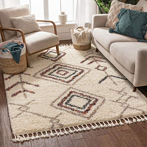 Well Woven Imane Ivory Moroccan Shag Tribal Diamond Medallion Pattern Area Rug 9×13 9 3 x 12 6