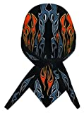 Dare Devil Black Orange Flames Doo Rag Headwrap Skull Cap Sweatband