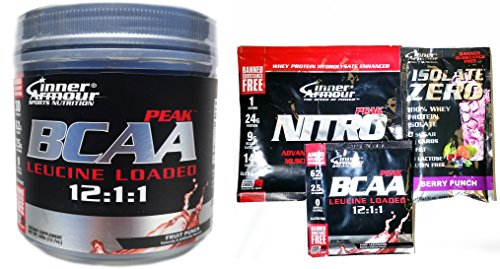 Inner Armour BCAA Peak Diet Supplement, Fruit Punch, 354 Gram With 3 FREE Sample Packets
