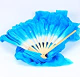 WHATWEARS 1.8m Colorful Belly Dancing Silk Bamboo Veils Dance Long Fans