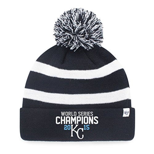 MLB Kansas City Royals 2015 World Series Champions '47 Breakaway Cuff Knit Hat with Pom, Navy, One Size
