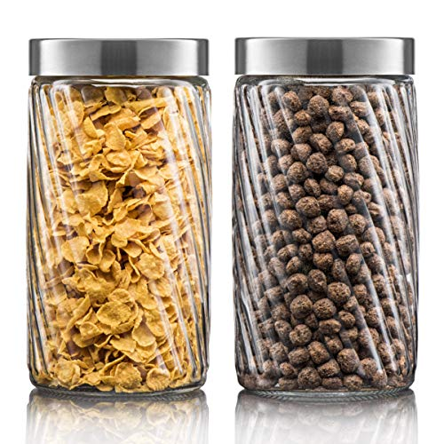 Klikel Glass Canister Set For The Kitchen | Set of 2 Containers With Lids | Tight Seal For Flour Sugar Pasta Cereal | Capacity 37oz / 1100ml 4 1/4 Inch Diam X 6.5 Inch High