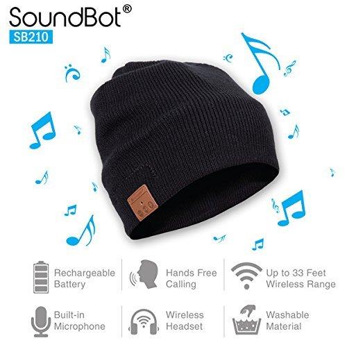 Price comparison product image Soundbot SB210 HD Stereo Bluetooth 4.1 Wireless Smart Beanie Headset Musical Knit Headphone Speaker Hat Speakerphone Cap, built-in Mic (BLK)