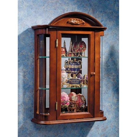 Fancy Hardwood Wall Curio Cabinet in Hand-Made Mahogany Finish with Glass on Three Sides, Mirror on The Back Panel, Two Removable Glass Shelves, Hand-Crafted of Solid Hardwood + Expert Home ()