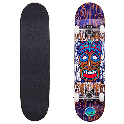 Cal 7 Complete Skateboard, Popsicle Double Kicktail Maple Deck, 31 Inches, Skate Styles in Various Graphic Designs (8