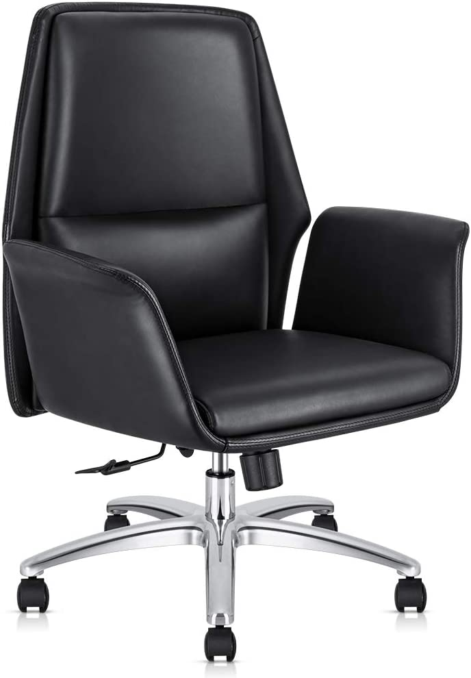 Office Chair Adjustable Managerial Home Desk Chair,Swivel Computer Leather Chair with Lumbar Support (Black)