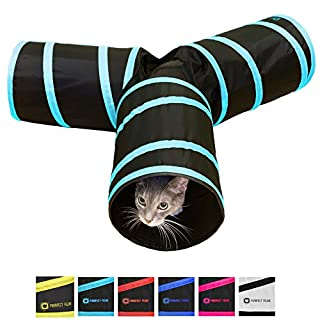 Purrfect Feline Tunnel of Fun, Collapsible 3-Way Cat Tunnel Toy with Crinkle (Blue, Medium)