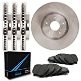 Max TA039343 Front + Rear OE Blank Replacement Rotors and Carbon Metallic Pads Combo Brake Kit