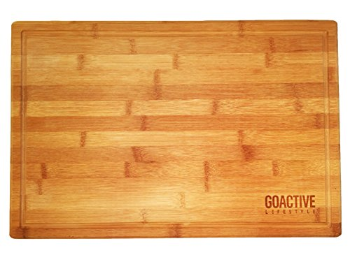Go Active Lifestyle Bamboo Cutting Board with Drip Groove, 18 X 12-Inch (Com Order Glasses Status)