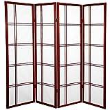 Oriental Furniture 5 ft. Tall Double Cross Shoji Screen - Rosewood - 4 Panels