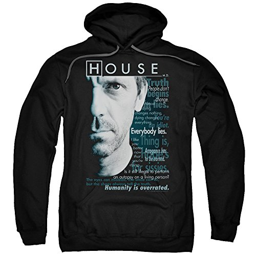 House MD Medical Drama TV Fox Hugh Laurie Houseisms Adult Pull-Over Hoodie Black