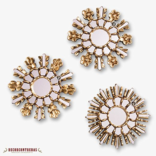 DecorContreras Small Gold Sunburst Mirror Set Handmade