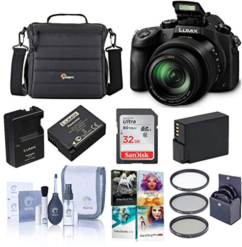 Panasonic Lumix DMC-FZ1000 Digital Camera - Bundle with 32GB Class 10 SDHC Card, Camera Holster Case, Spare Battery, 62mm Filter Kit, Cleaning Kit, Software - Bundle Dmz