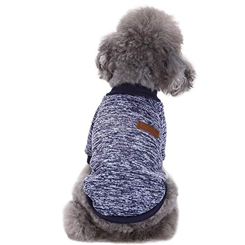 CHBORLESS Pet Dog Classic Knitwear Sweater Warm Winter Puppy Pet Coat Soft Sweater Clothing for Small Dogs (M, Navy Blue)