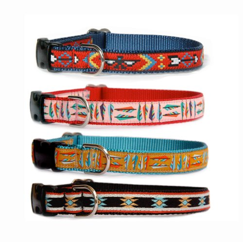 Custom made dog collar : Navajo, Santa Fe, Southwestern & Native American influenced designer dog collar for puppies, small dogs to large dogs. Made in the U.S.A.