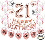 21st Birthday Decorations (38 Pieces) | 21st Birthday Party Supplies and Rose Gold Party Decorations Banner | Rose Gold Confetti Balloons for her | Finally Legal 21 | Happy 21st Bday Props Or Photos