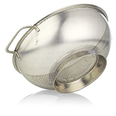 Colander Michael 5, Stainless Steel Strainer, 5 quarts, Micro Perforated, Safe Silver Steel, Vegetables, Fruits, Pasta, Noodles, Orzo, Strainers With Large Handles, Dishwasher Safe