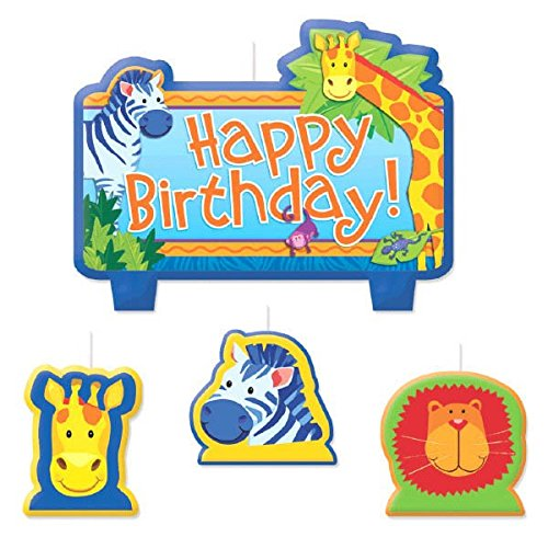 Party Time Jungle Animals Molded Mini Character Birthday Candle Set, Pack of 4, Blue , 2.5