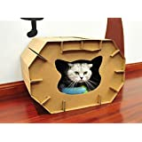 Cat House Scratcher and Sleep Recyclable Cardboard DIY Assembled For Small & Medium Cat
