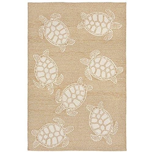 Liora Manne CAP57163412 Capri Summer Coastal Ocean Sea Turtle Pattern Indoor/Outdoor Patio Waterproof Rug 5' X 7'6