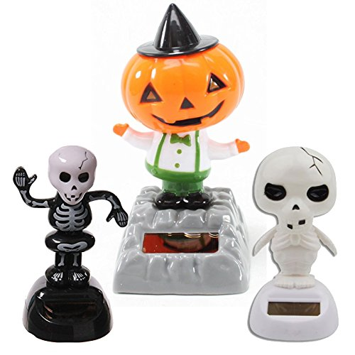 Set of 3 Jackpot, Solar Toy Dancing Skeleton Pumpkin for Halloween Party Games Nightmare Bobble Head Ghost Home Decor Gift - USA Seller !! by Jackpot (Skeletons Halloween)