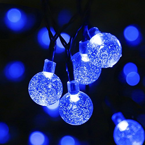 Mrupoo Christmas Solar Globe String Lights 30 LED 21ft 8 Modes Crystal Ball Waterproof Light for Outdoor, Indoor, Thanksgiving, Patio, Garden, Party, Home, Xmas Tree Decorations (Blue-2 packs)