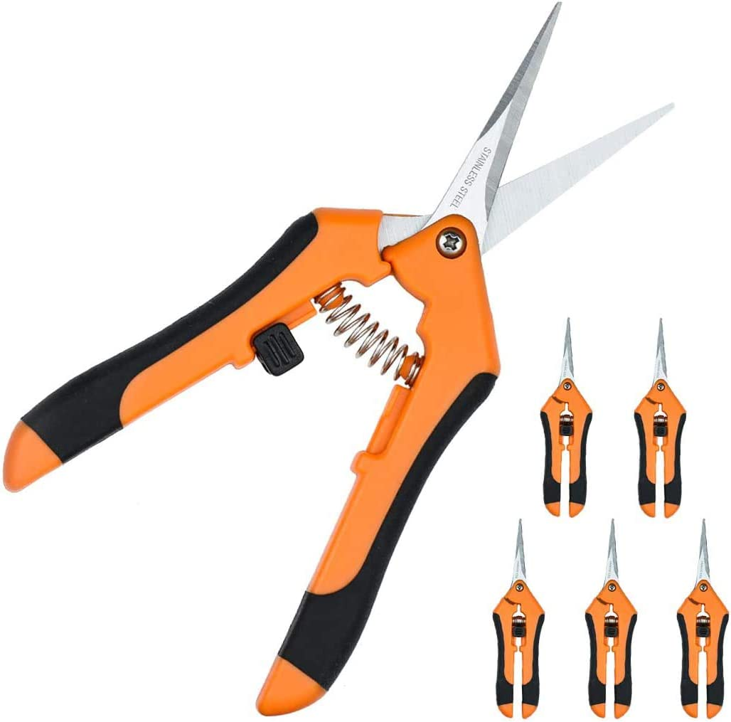 JES&MEDIS 6-Pack Gardening Shear Pruning Shears with Stainless Straight and Curved Blades, Handheld Pruners Set Hand Pruning Snips Professional Bypass Pruning, Orange