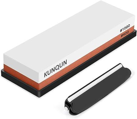★Material Superior Resistente al Desgaste: La piedra afilar de KUNQUN está hecha de corindón blanco